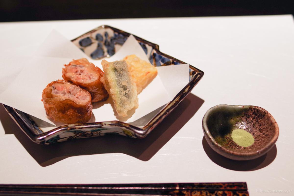 鶏と根菜とフォアグラの東寺揚げ、野菜天ぷら